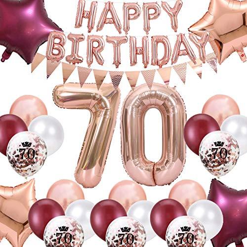 70. Geburtstag Dekorationen Weinrot für Frauen, Happy Birthday Ballon Wimpel Banner Nummer 70 Geburtstag Luftballons Wein Rot Star Folie Ballons Roségold für Mutter 70. Geburtstag