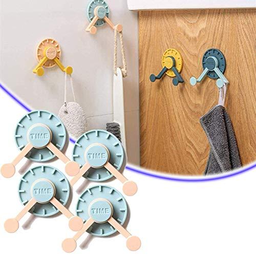 ZURITI Gancho de Reloj Giratorio de 360 ° sin Perforaciones, Soporte para Pegatinas sin Perforaciones en la Pared, Juego de 4, Resistente al Agua, Ganchos de Cocina y baño 2Sets Pink+Lightblue
