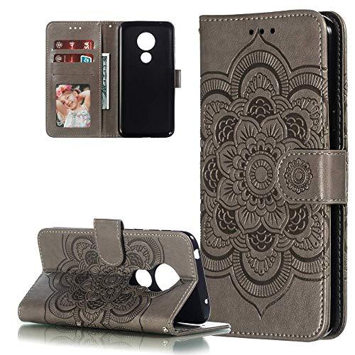LEMAXELERS Motorola Moto G7 Power Hülle,Für Moto G7 Power Handyhülle Prägung Mandala-Blume Flip Case PU Leder Magnet Schutzhülle Tasche Ständer Handytasche für Motorola Moto G7 Power,LD Mandala Gray