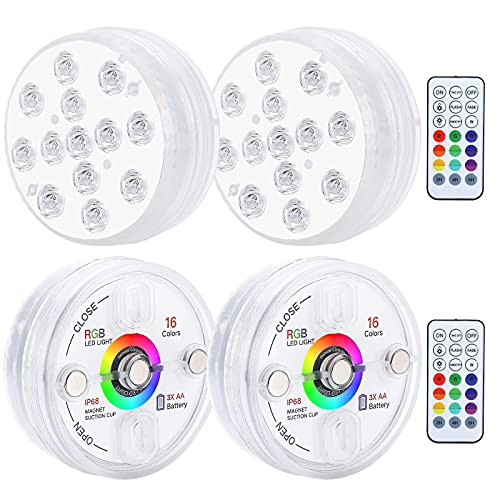 EVIGAL LIGHT POOL LIGHTS MAGNET 및 SUCTION CUPS가 있는 잠수식 LED LIGHTS RF 원격 풀 라이트 IP68 방수 13개의 LED 풀 라이트가 있는 수중 타이밍 3.35인치(2팩)..