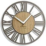 FLEXISTYLE EKO - Orologio da parete senza ticchettio, modello Loft Piccolo, 30 cm, per soggiorno, camera da letto, prodotto in UE, grigio e rovere