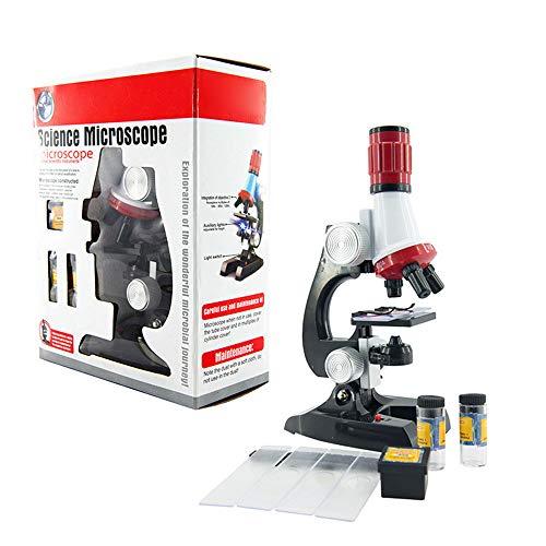 LQKYWNA Kinder-Mikroskop-Set oder Mischprobe Lernspielzeug Lab 1200X Zoom Hilfe Kinder die Mikrowelt zu Hause / Schule erkunden (Microscope Set)