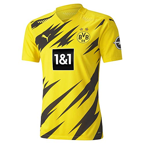 PUMA Herren T-Shirt BVB Home Authentic Shirt SS w.Sponsor New, Cyber Yellow-Puma Black, L, 931110