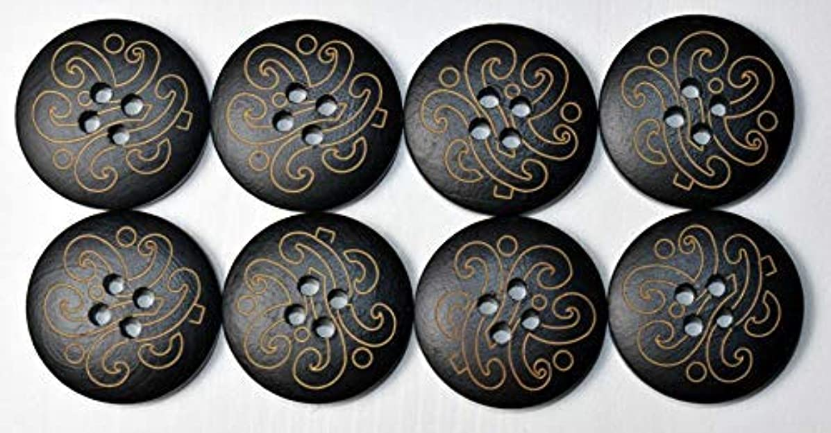 SFG Laser Engraved Round Wood Buttons Vine 4 Holes 32L 20mm 3/4in (Black Qty 8)