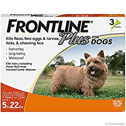 commercial FRONTLINE Plus Dog flea and tick relief (small dogs, 5-22 lbs, 3 cans) flea and tick prevention