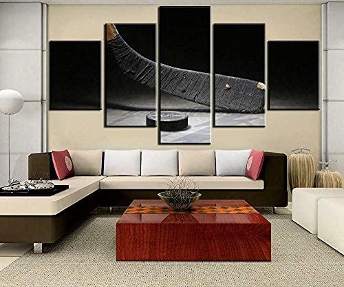 Impresiones Sobre Lienzo Moderno Hd Impreso Pintura Lienzo Decoración Para El Hogar 5 Piezas Palo De Hockey Sobre Hielo Y Hockey Sobre Hielo Poster Wall Art Picture