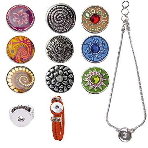 Damen Mädchen, Click-Buttons Druckknöpfe Chunks Set für: Ring,Armband, Halskette & 9 Klick Buttons. Schmuck Sets sind tolle Schwester /Oma / Mama Geschenk beste Geschenke für Frauen