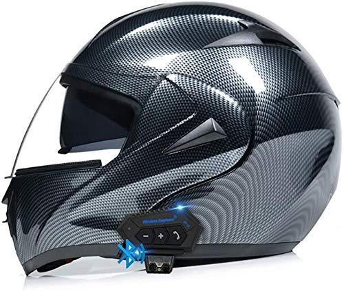 ZLYJ Bluetooth Motocicleta Casco Integral, Abierto Cascos de Moto, Modulares Casco con Anti-Niebla Doble Visera, Profesional Unisex Casco Motocross, Certificado ECE E,M
