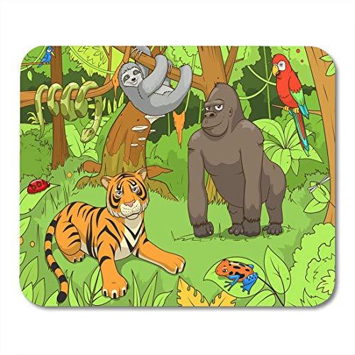 Mauspad/Mauspad mit Frosch-Dschungeltieren, Cartoon, grünes Gras Anaconda, für Notebooks, Desktop-PCs, Bürobedarf, 25,4 x 30,5 cm
