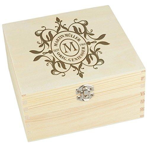 Houten kist groot vierkant kist doos verpakking deco grenen natuur met individuele gravure 190 x 100 x 190 mm