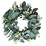 Green Leaf Wreath, 33cm Artificial Eucalyptus Garland, Spring Green Plant Decoration for Front Door, Home Office Party St Patricks Day/Easter Decor for Window, Wall, Door (D)