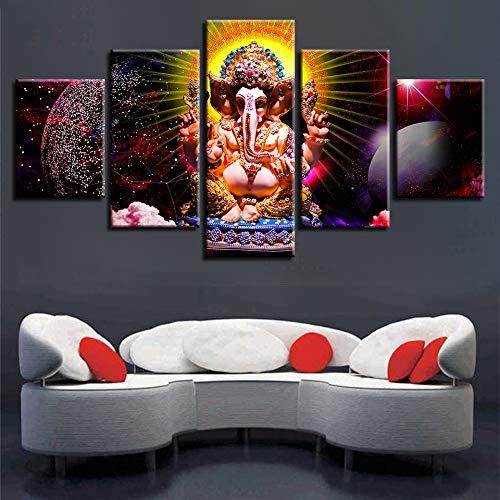 FFFZDCKAY Bilder 5-teilig Leinwandbilder Hinduistischer Gott der Weisheit Ganesha Wanddeko Wandbilder Plakat 30 * 40cm*2pcs+30 * 60cm*2pcs+30 * 80cm*1pcs Wohnkultur Rahmenlos