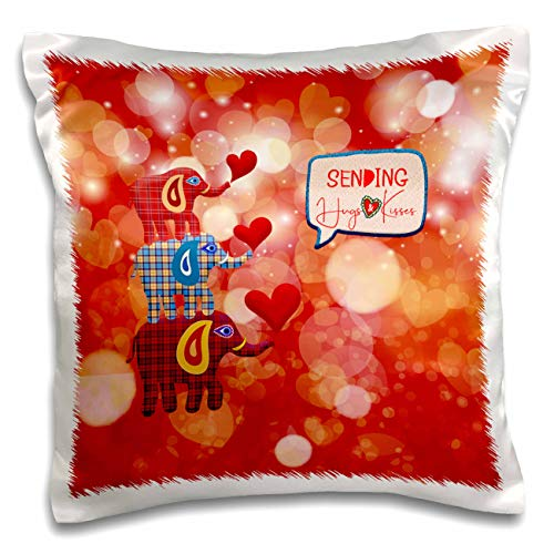 3dRose Beverly Turner Valentine Design - Image of Stacked Plaid Elephants and Hearts, Sending Hugs Heart Kisses - 16x16 inch Pillow Case (pc_306377_1)
