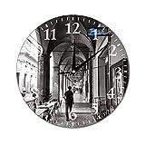 VinMea Orologio da parete in bianco e nero Bologna per fotografia di strada, orologio da appendere, silenzioso, non ticchettio, decorativo per la casa, per soggiorno, camera da letto, 25 cm