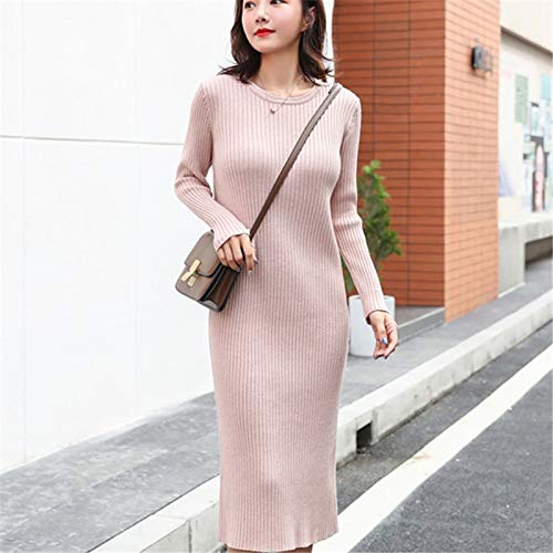 LFMYQ Mode Herbst Strickkleid Frauen Pullover Kleider Frau Overknee Pullover Kleid Elegante Frauen Hohe Taille Pullover Lange Kleider One Size Pink
