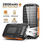 Cocoda Chargeur Solaire, 25000mAh Batterie Externe Portable avec 2 Lampes de Poche Ultra Lumineuses, Power Bank Solaire Imperméable avec 2 Sorties & 2 Entrées (Micro USB & Type C) pour Extérieur