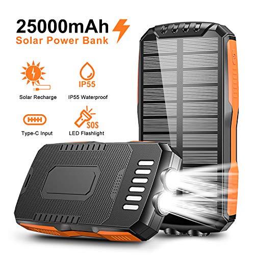 Cocoda Solar Powerbank 25000mAh mit 2 LED Taschenlampe, Tragbares Solar Ladegerät mit 2 Ausgängen & 2 Eingängen (Mikro USB & Typ-C), Wasserdicht Externer Akku für Handys Tablets Aktivitäten im Freien