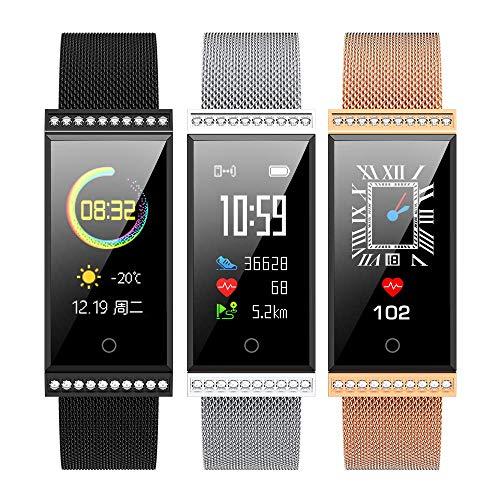 GYR Smart Watch per Donna, Ragazza Diamante Cristallo Sport Moda Sport monitoraggio della Salute contapassi Calorie Fitness gjkl Argento