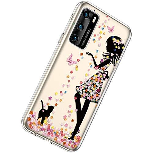 Herbests Kompatibel mit Huawei P40 Hülle Dünne Transparent TPU Schutzhülle Crystal Clear Silikon Stoßfest Hülle Durchsichtig Handyhülle mit Süße Niedlich Muster,Mädchen Katze