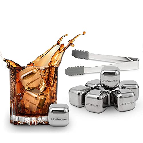 XUSHUDE Juego de piedras para whisky, 8 Cubitos de Hielo reutilizable de acero inoxidable, Whiskey Ice Cube Stone accesorios vino...