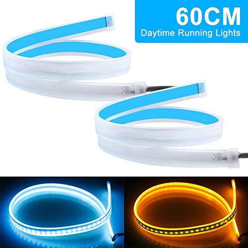 2Pcs luces de conducción diurna LED flexibles para coche, luces de tira de superficie de faros delanteros LED de color blanco y ámbar, luz de señal de giro impermeable de 12V, lámpara decorativa-60CM