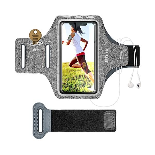 JETech Cell Phone Armband Case for iPhone SE(2020)/11/11 Pro/XR/XS/X/8 Plus/7 Plus/8/7/6s/6, Samsung Galaxy S10/S9/S9+, Adjustable Band, w/Key Holder and Card Slot, for Running, Walking, Hiking