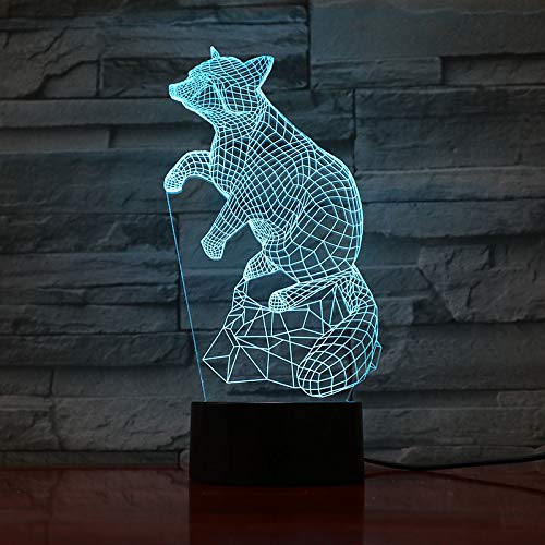 sanzangtang LED Night Light 3D-Vision-Seven Colors-Remote Control-Animal Bear Light Discoloration Decoration Light Children Kids Baby Kit Bear Night Lightkids night light projector