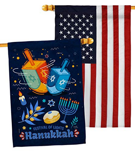 Breeze Decor Festival of Lights House Flag - Pack Winter Hanukkah Candle Bonsai Menorah Jewish Chanukah David USA Embroidery - Decoration Banner Small Garden Yard Gift Double-Sided Made in 28 X 40