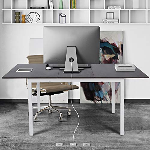 FurnitureR Mesa de Comedor Rectangular Extensible, sobre de Madera con Patas de Metal con Recubrimiento de Polvo Blanco, Mesa de...