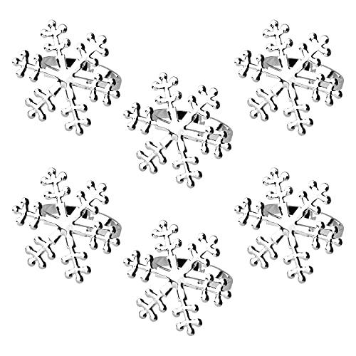 Anillos de Servilleta de Navid 6 Piezas Copo de Nieve Servilletas Anillos perla...