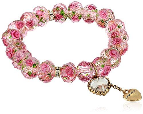 Betsey Johnson Pink Flower Bead Stretch Bracelet
