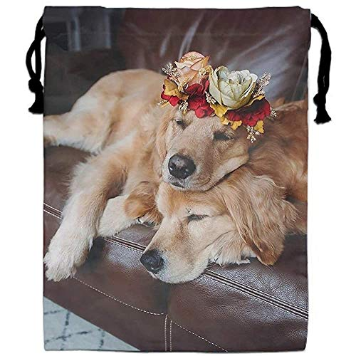 RP Amazing The Dog- Carries A Garland- Drawstring Shoe Bags Dust-proof Travel Lingerie Storage Bags for Outdoor Travel Sporting,30x40cm