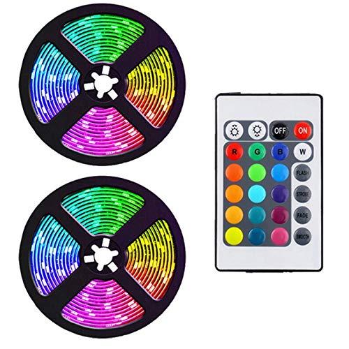 JISKGH Tira de Luces Led de 10 M con Controlador de 24 Teclas Tiras de Luz Rgb Flexibles Que Cambian de Color para la Decoración de Bricolaje de Fiesta Enchufe de la Eu