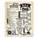 75th Birthday Gift For Men or Women // Back in 1946 Poster // Newspaper Print // Wedding Anniversary Gift // Party Decoration // Supplies Favors // Table Decor // Gift Idea