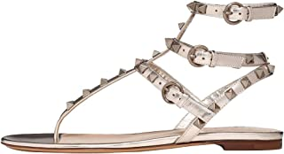 54aaee23a6cff Themost Women s Rivets Studded Flats Shoes T-Strap Strappy Sandals Thong Sandal  Flip Flops Mules