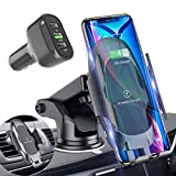 Automatic Clamping Wireless Car Charger Mount,10W Qi Fast Wireless Car Charger,Windshield Dashboard Air Vent Phone Holder with QC 3.0 Fast Charger,Compatible with Samsung Galaxy S20, S10+ S9+ Note 9