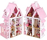 Dowonsol 17 Wooden Dream Dollhouse 6 Rooms with Furnitures Lights DIY Kits Miniature Doll House Great for Gift