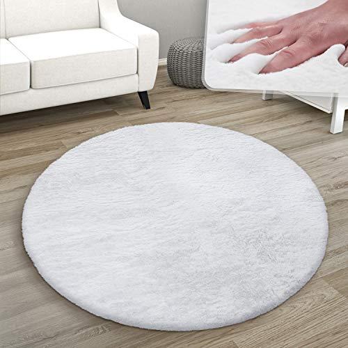 Paco Home Teppich Rund Fellteppich Kunstfell Plüsch Bettvorleger Shaggy Wohnzimmer Kinderzimmer, Grösse:Ø 100 cm Rund, Farbe:Weiß