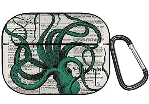DAOPUDA Funda de Silicona Compatible con la Funda AirPods Pro,Periódico Octopus Kraken Deep Ocean Animal,Fundas Protectoras para Auriculares portátiles de Viaje con Llavero
