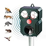 Repelente para gatos,Repelente Ultrasónico para Animales,con LED,Carga solar,ristente al agua, Sensor de Movimiento y Luz Intermitente Detector de Para Gatos,Perros,Aves,Ardillas,Topos,ratas