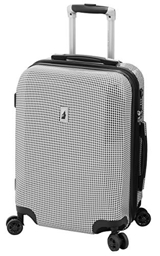 London Fog Cambridge 20' Expandable Hardside Spinner, Black/White Hound stooth