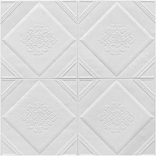 Azulejos de pared de efecto de efecto 3D para cocina y baño, etiquetas engomadas autoadhesivas impermeables, azulejos de plástico-X7 blanco_2