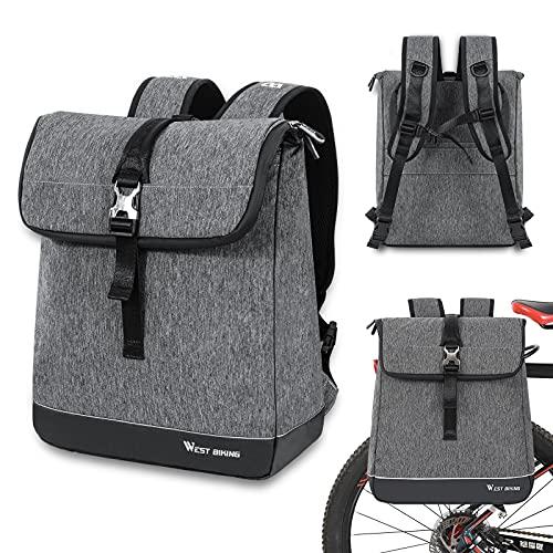 CYCLESPEED Fahrradrucksack 25L, 2-IN-1 Fahrradtasche für Gepäckträger, Wasserdicht Radsport Rucksack Sportrucksack Schulrucksack, Stylische Tagesrucksack mit 15 Zoll Laptopfach