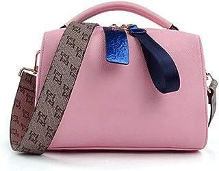 ハンドバッグ レディース ショルダーバッグ レディースファッションクロスボディワイドショルダーストラップショルダーバッグワイルドトレンドレッドハンドバッグ ?適切な予約、ショッピング、ウェディングカクテル、パーティー、仕事 トートバッグ (色 : ピンク)