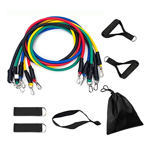 Resistance Bands Set with Stackable Exercise Bands,Non-Slip Foam Hanldes,Carry Bag, Door Anchor Attachment, Legs Ankle Straps and Workout Guide