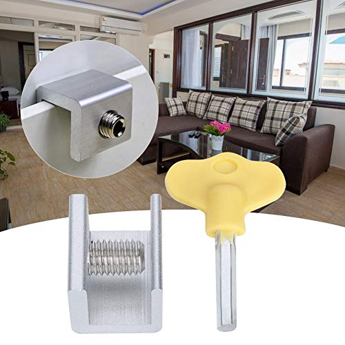 Mumusuki Cerraduras de Puertas Protectores de Ventanas, 10 Juego de cerraduras de Seguridad para Ventanas corredizas Tope de Cerradura de Seguridad Deslizante de aleación de Aluminio con Llaves