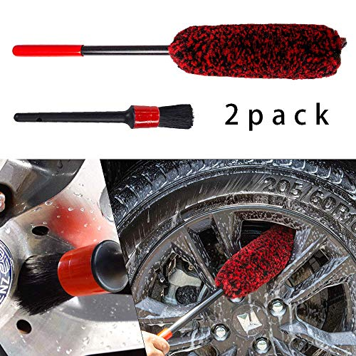 Wheel Brush and Detail Brush Kit - Synthetic Wool Tire Rim Brush,Woolies, Soft, Dense Fibres, Car Cleaning Wheels Safely