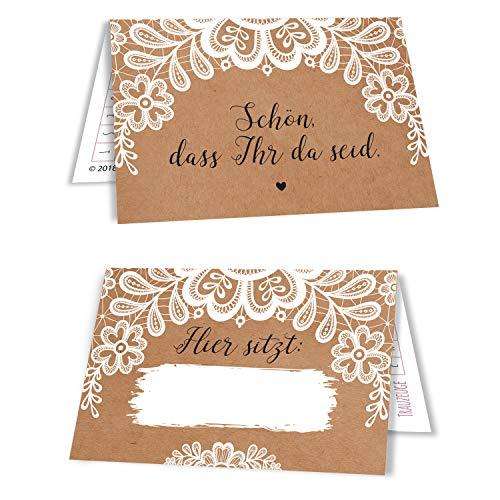 50 Tischkarten Hochzeit Sitzplatzkarten Platzkarten Namensschilder Namenskarten 50er Set Kraftpapier und Spitze Sweet Vintage