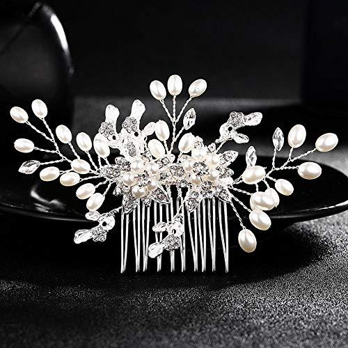 2017 neue europäische und amerikanische Brauthaarzubehör Haarkamm Perle Strass Kopfschmuck Hochzeitsschmuck Nachahmung Perle-Weiß