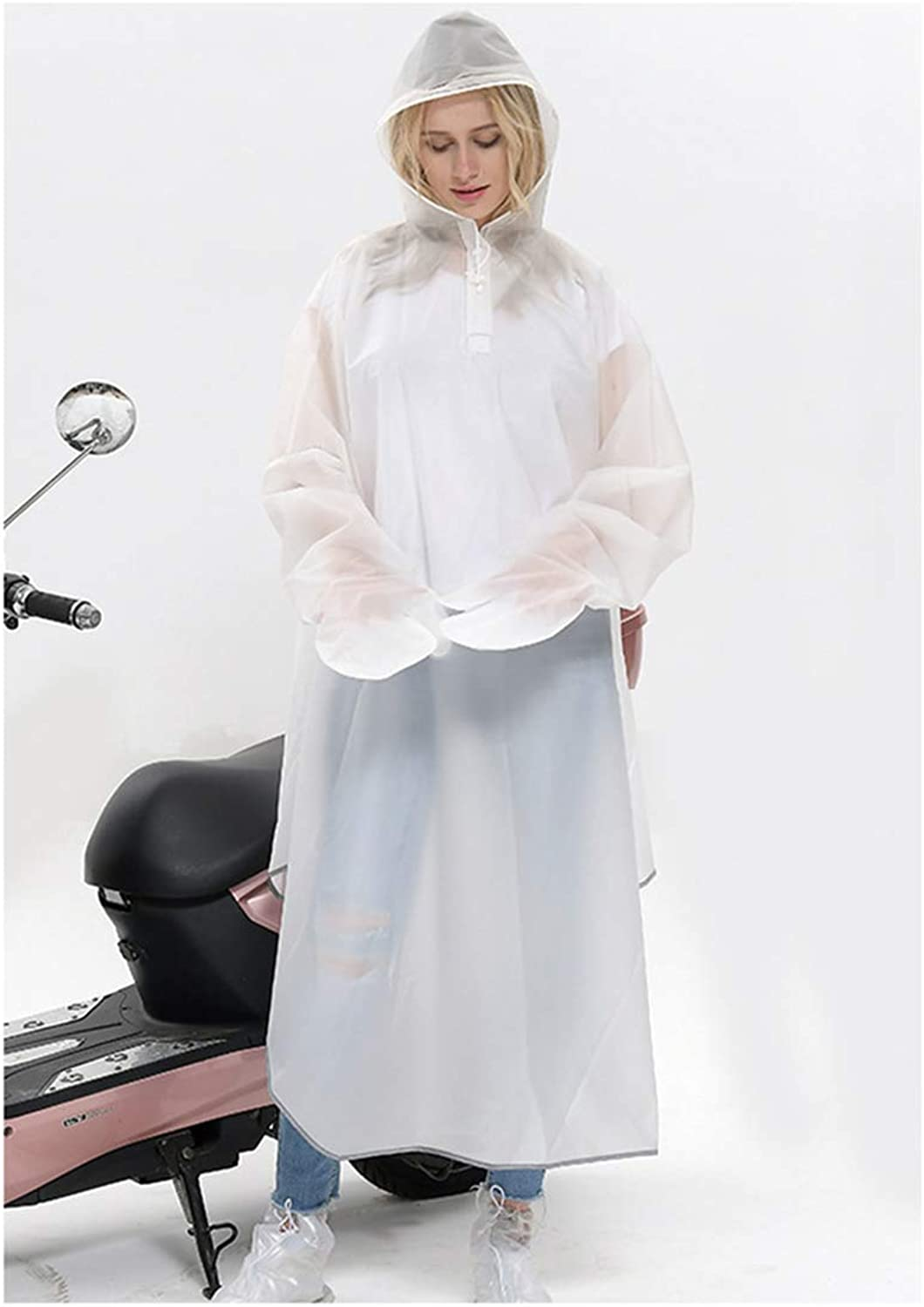 Creative Fashion Green Belt Sleeves Double Cap Caves Electric Car Poncho Bicycle Riding Night Reflective Men and Women Raincoat